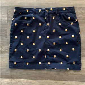 G H Bass & Co owl print skirt size 8 navy